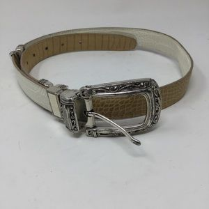 Brighton Yellow and White Reversible Belt